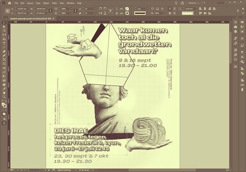 Screenshot of Adobe Indesign during poster designs process for a university